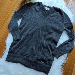 Michael Kors Black Metallic V Neck Sweater